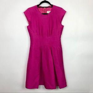 Kate Spade Silk Blend Pleated Aline Dress Pink